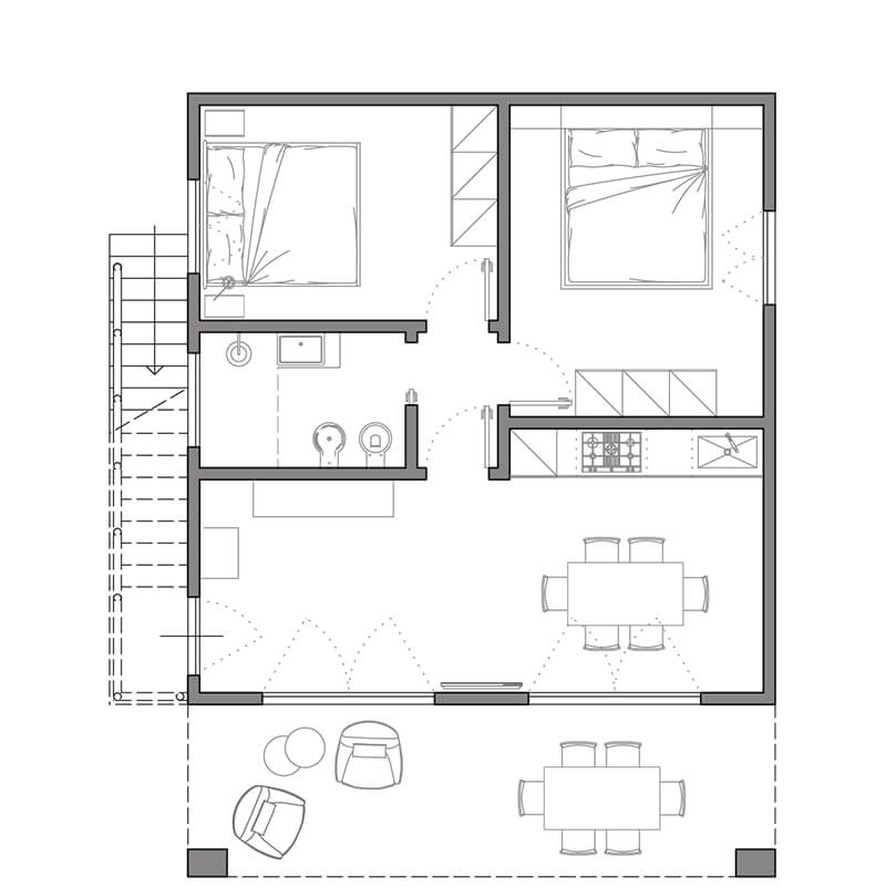 appartamento maisha marefu pianta piano terra